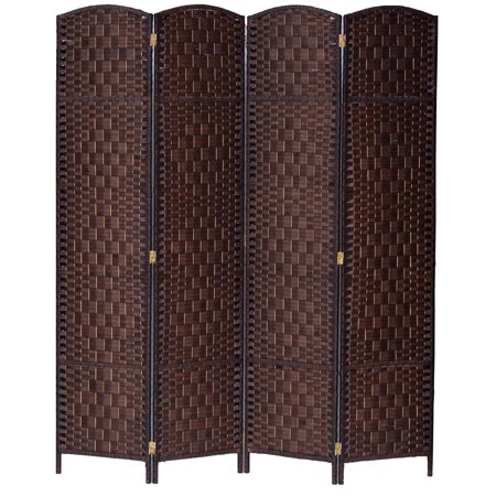 4 Panel Diamond Weave Fiber Room Divider, Brown Color, By Legacy Decor Diamond Room Divider Three Panel