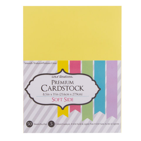 Cardstock Valuepack Thesofterside 65Lb Smooth 5 Color 8.5X11 50Pack