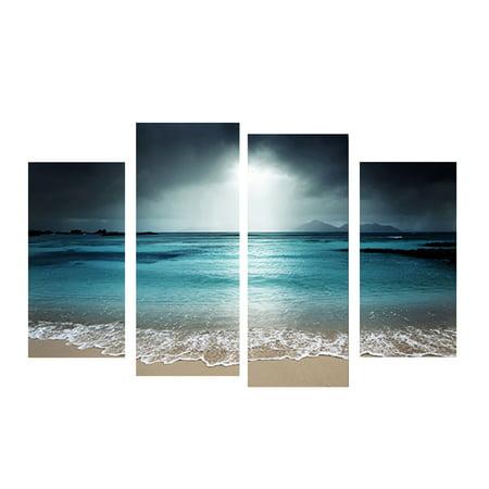 4 Panels Azure Sea Sky Seascape Unframed Oil Paintings Wall Art Decor for Living Room