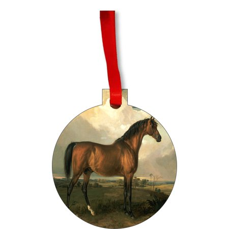 Horses Ornaments Christmas James Ward Chestnut Horse Painting Round Shaped Flat Hardboard Christmas Ornament Tree Decoration - Unique Modern Novelty Tree Décor Favors - Painting Christmas Ornaments