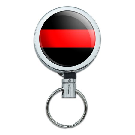 Thin Red Line Firefighters Retractable Belt Clip Badge Key - Fire Fighter Badge