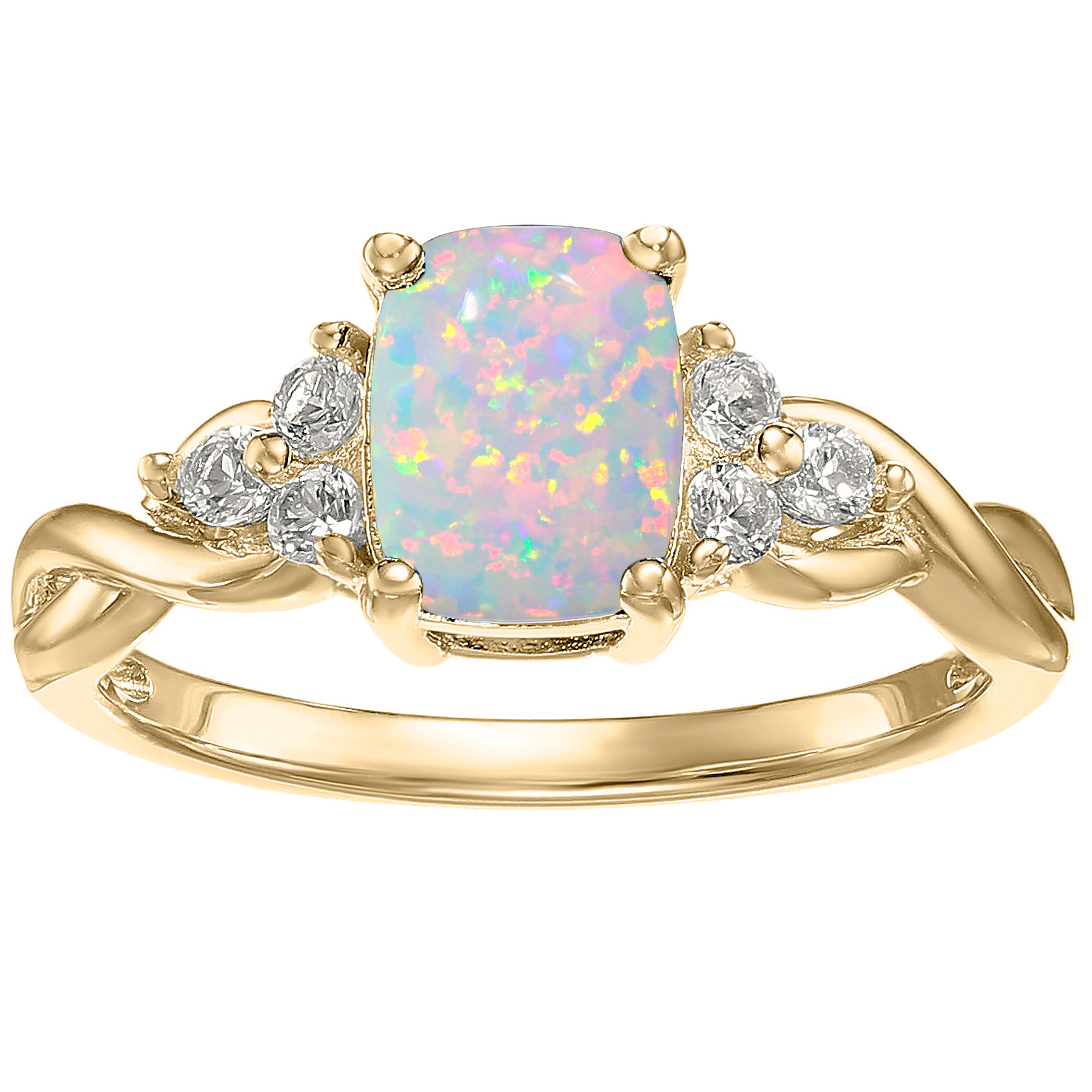 10K Yellow Gold, Simulated White Opal and White Topaz Cushion Ring by Metro Jewelry