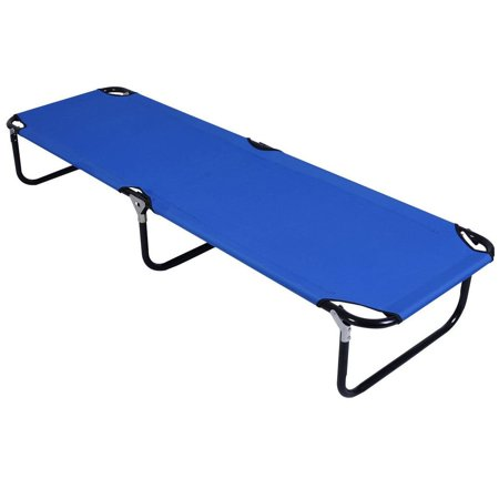 Gymax Folding Camping Bed Outdoor Military Cot Sleeping Blue