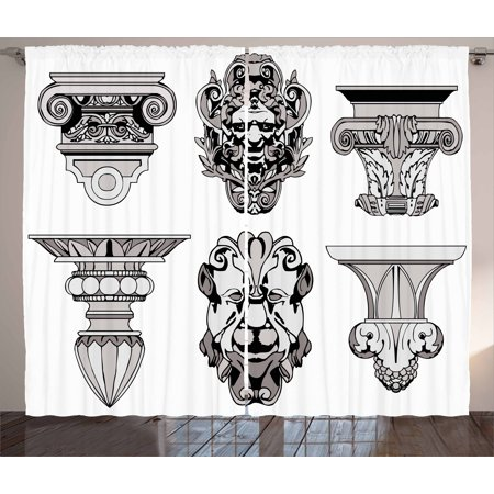 Toga Party Curtains 2 Panels Set, Roman Architectural Decorations Sphinx Lion and Column Antique Design, Window Drapes for Living Room Bedroom, 108W X 84L Inches, Light Grey Black, by Ambesonne](Roman Colums)