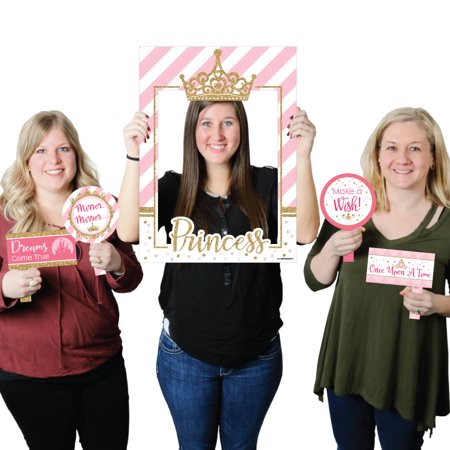 Pink Crowns (Little Princess Crown - Pink and Gold Princess Baby Shower or Birthday Party Selfie Photo Booth Picture Frame &)