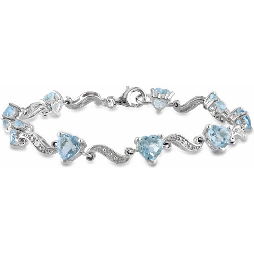 "8-2/5 Carat T.G.W. Blue Topaz and Diamond-Accent Sterling Silver Heart Bracelet, 7"""