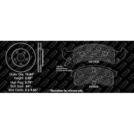 Max Brakes Front Premium Brake Kit [ OE Series Rotors + Ceramic Pads ] KT064241 | Fits: 1996 96 Cadillac Deville w/ Std Brake - image 4 of 8