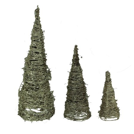 Silver Sparkle Glitter Spiral Twig Cone Trees Set of 3 - image 3 de 3