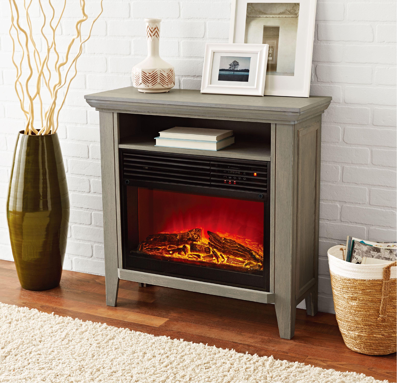 Mainstays Infrared Quartz Fireplace Heater with Storage Shelf, Gray Finish