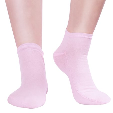 Image of Pixnor Spa Moisturizing Gel Socks Ultra-soft Moisturizing Socks with Quality Gel for Moisturizing 1 Pair(Pink)