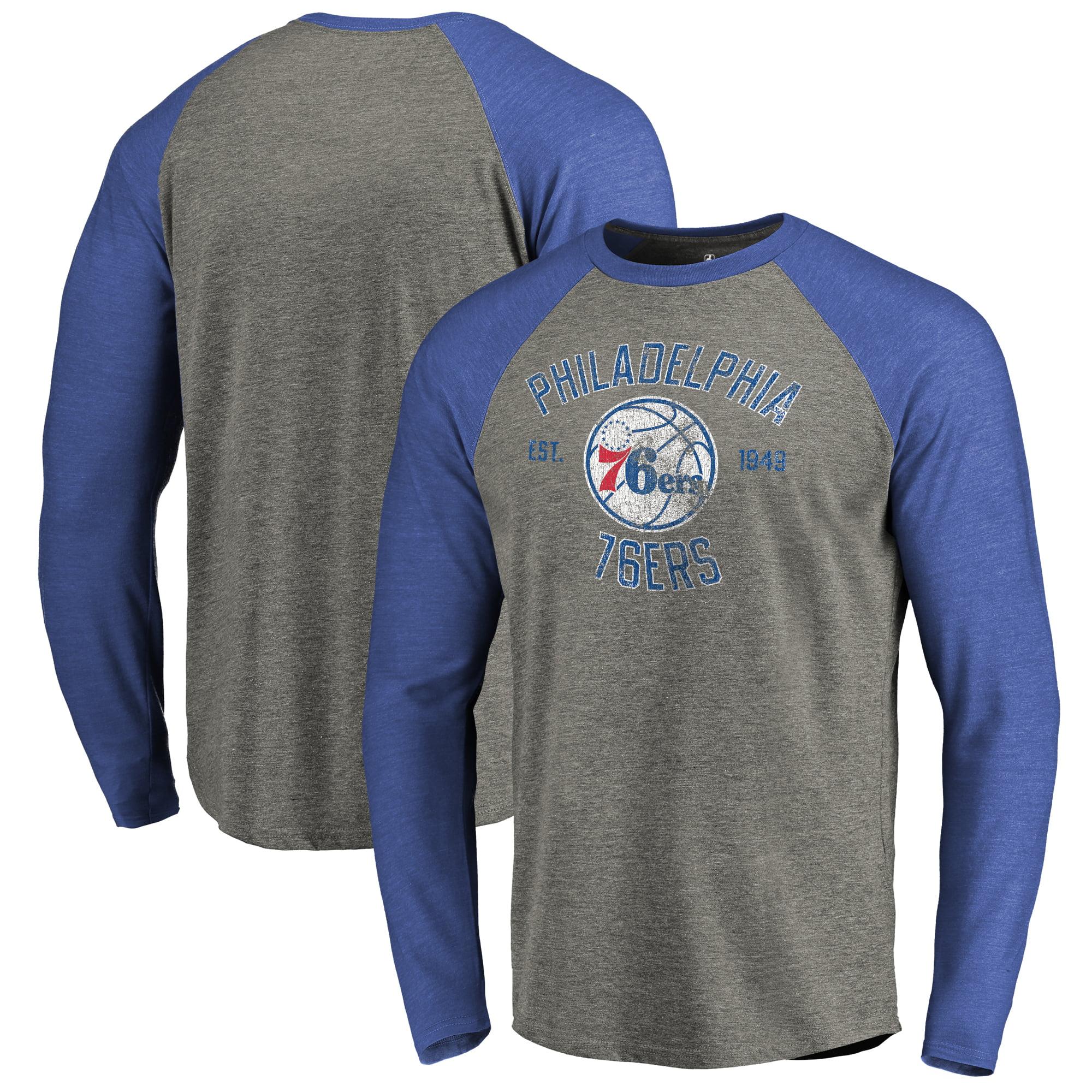 Philadelphia 76ers Fanatics Branded Heritage Big and Tall Long Sleeve Tri-Blend Raglan T-Shirt - Heathered Gray