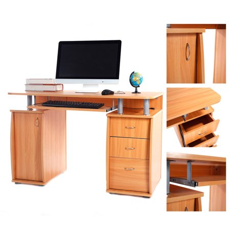 Zimtown Computer PC Desk Table Workstation Office Home Furniture Drawers Stroage Wood ()