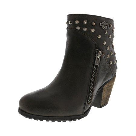 Harley Davidson Women's Wexford Grey Ankle-High Leather Boot - - Harley Davidson Leather Pants