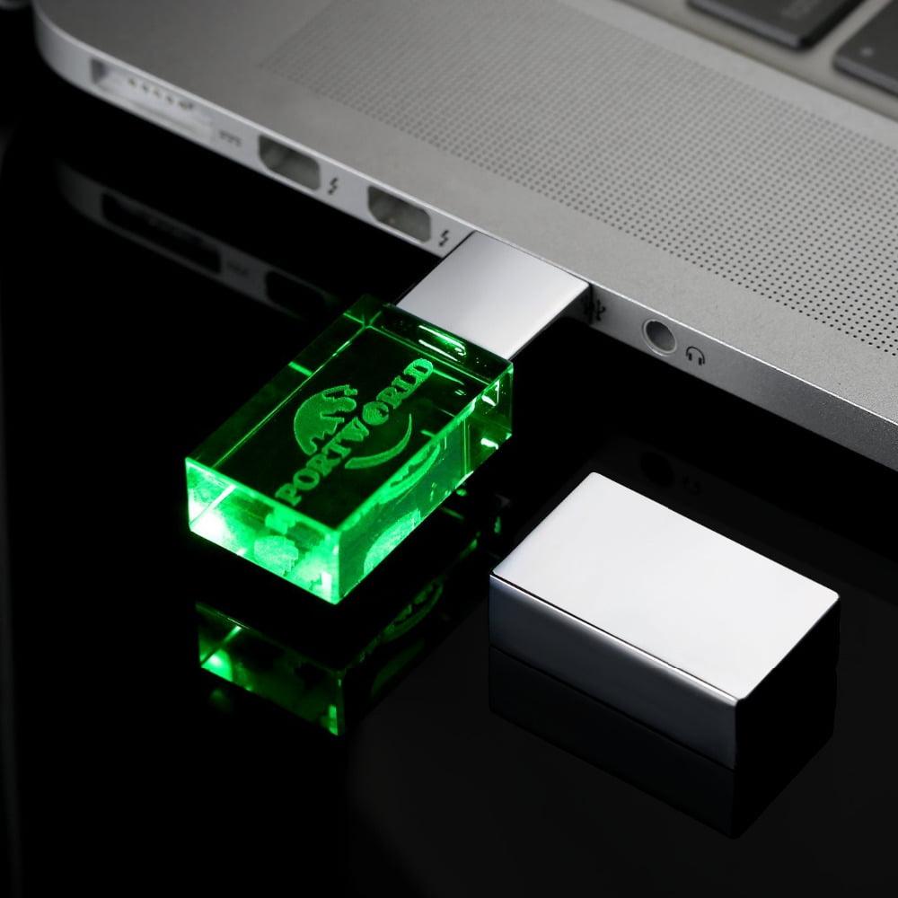 Portworld 16GB LED Flash Drive USB 2.0 Memory Stick Crystal Transparent Waterproof Thumb Drive - Green