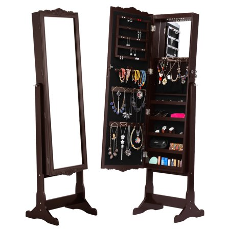 LANGRIA Free-Standing Lockable Carved Jewelry Armoire Cabinet with Full-Length Mirror and LED lights, 5 Shelves, Additional Mirror Inside, Organizer for Rings, Earrings,(JEWEL CAB 8292+LED Espresso)