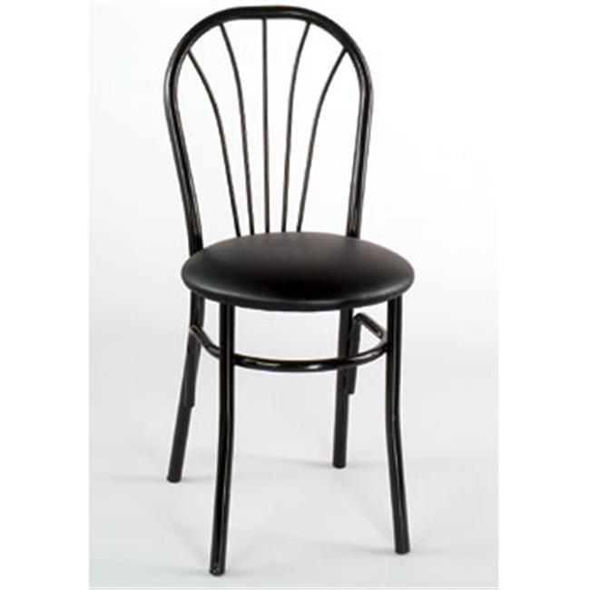 Alston Quality 1896 BLK-Black Walnut Cafe Metal Side Chair With Upholstered Seat Black Frame