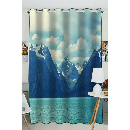 PHFZK Snowy Nature Window Curtain, Northern Norway Mountains and Atlantic Coastline Window Curtain Blackout Curtain For Bedroom living Room Kitchen Room 52x84 inches One Piece ()