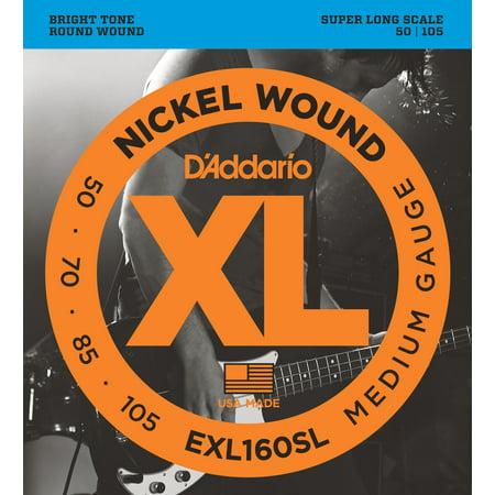 D'Addario EXL160SL Nickel Wound Bass Guitar Strings, Medium, 50-105, Super Long Scale (Nickel Wound Long Scale)