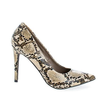 Lydia14 by Breckelle's, Pointed Toe Snake Print Slip On Stiletto Heel Dress Pumps