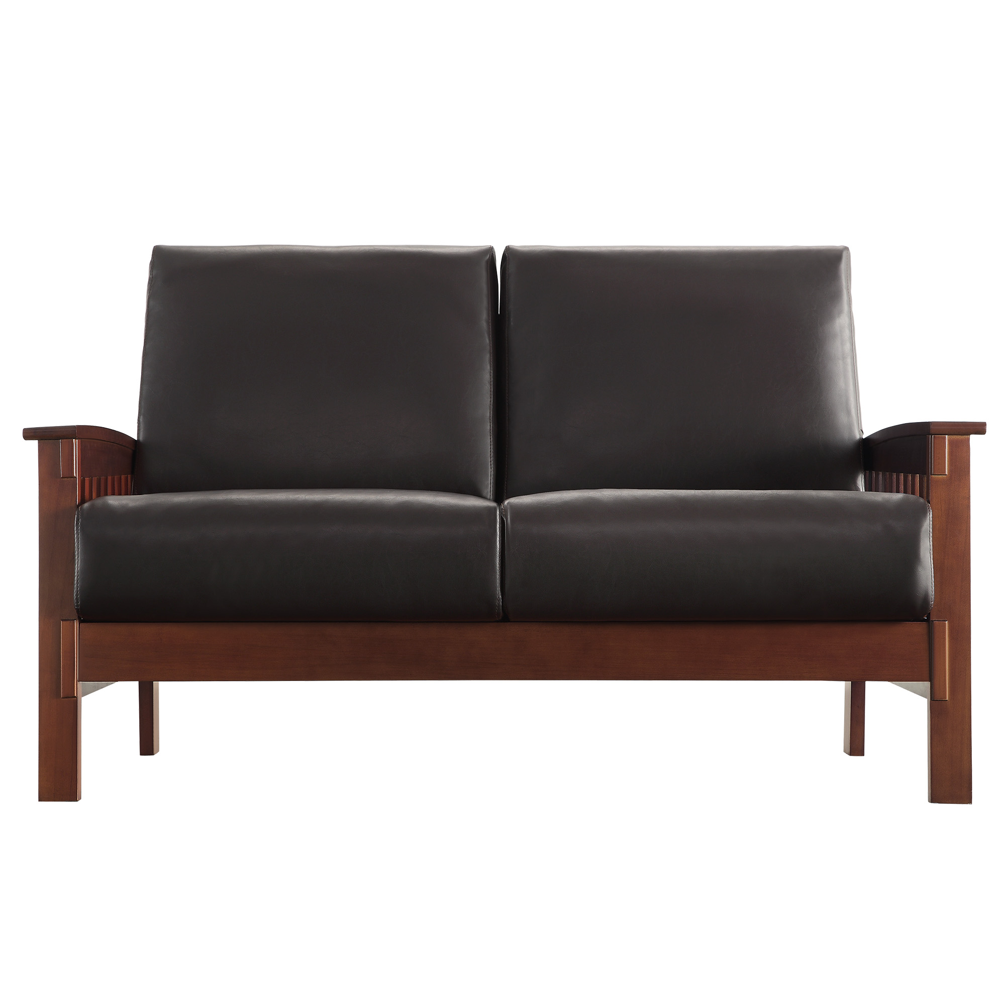 Details Loveseat Sofa Couch Dark Brown Faux Leather Seat Cushions