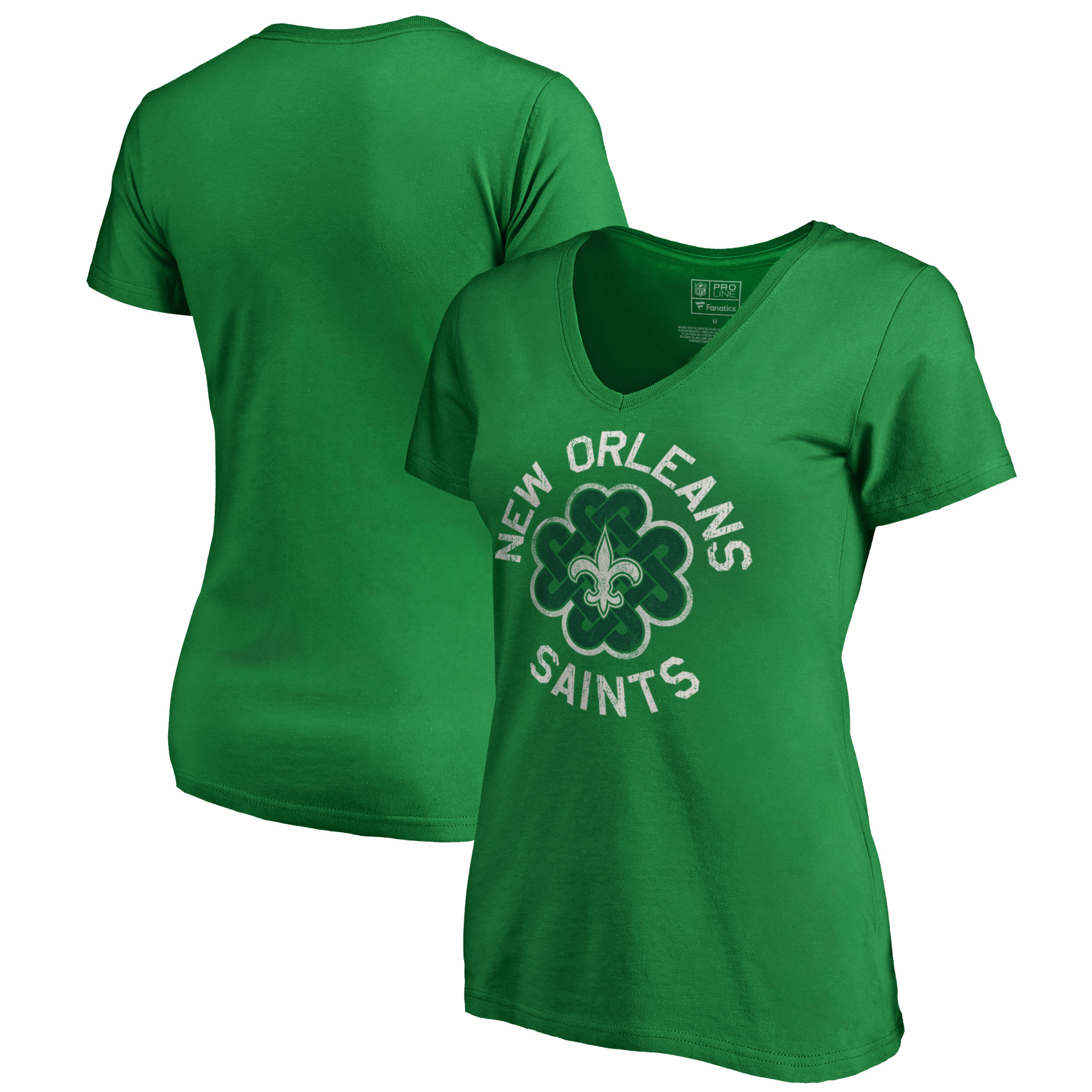 New Orleans Saints NFL Pro Line by Fanatics Branded Women's Plus Size St. Patrick's Day Luck Tradition V-Neck T-Shirt - Kelly Green