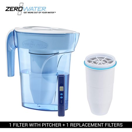 zero water 6 cup ion exchange water dispenser pitcher 1 replacement filter combo. Black Bedroom Furniture Sets. Home Design Ideas