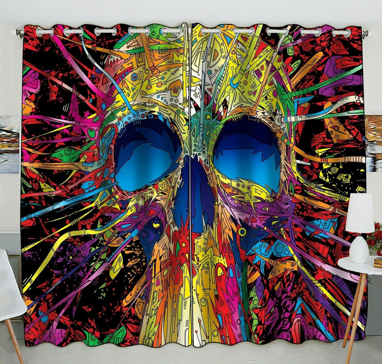 ZKGK Skull Art Window Curtain Drapery/Panels/Treatment For Living Room Bedroom Kids Rooms 52x84 inches Two Panel