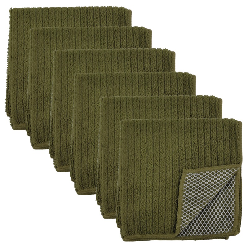 Pack of 6 Solid Olive Green Dish Cloth Scrubber Kitchen Accessory Set - Microfiber Terry Cloth