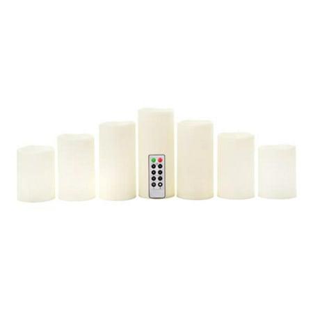 Ivory LED Pillar Candle Set: 7 Candles with