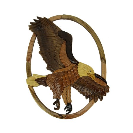 Hand Carved Wood Art Flying Eagle Wall Hanging Carved Bali Wood Art