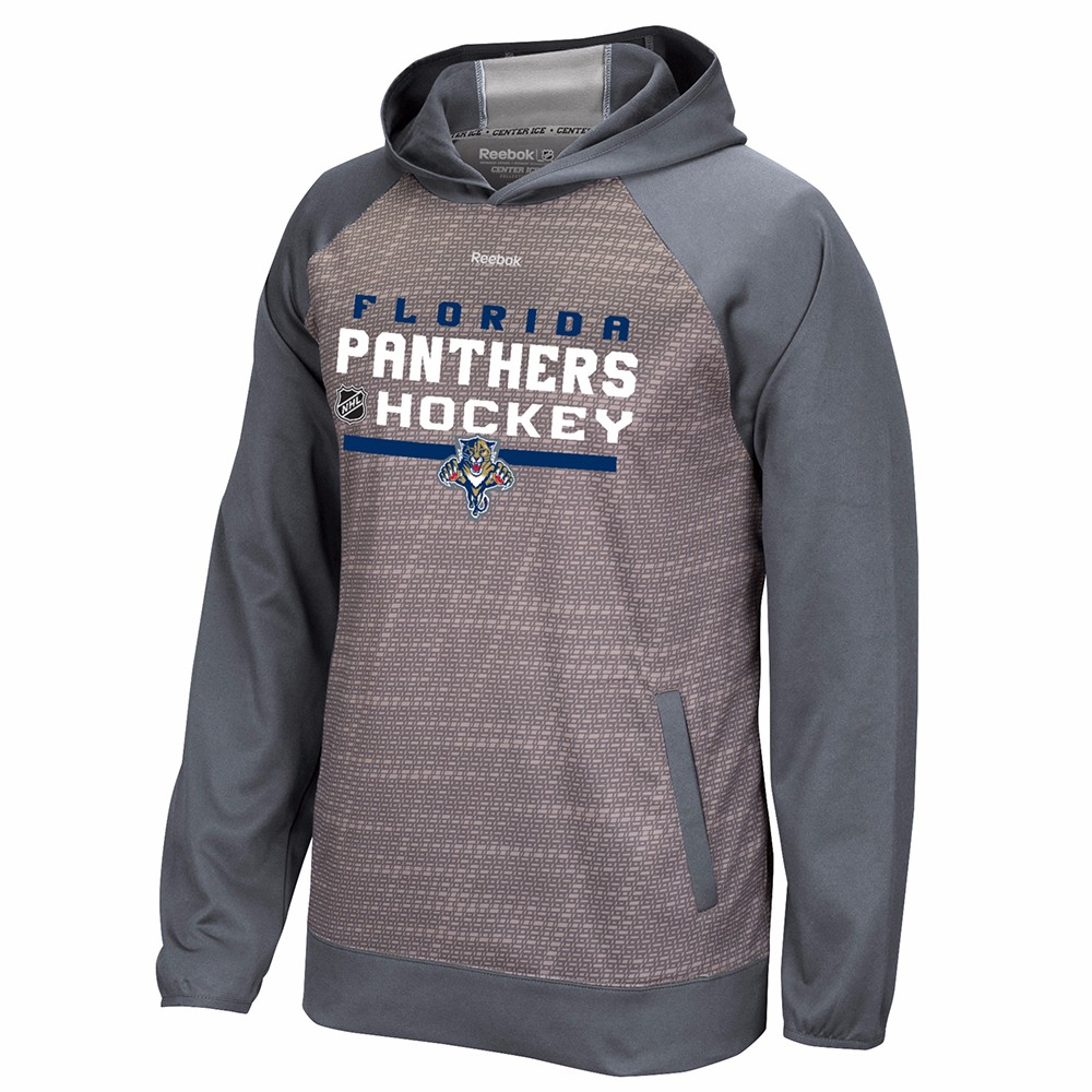 Florida Panthers NHL Reebok Grey Center Ice TNT Team Logo Speedwick Performance Pullover Hoodie For Men by Reebok