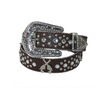 Size Small Womens Western Guns and Rhinestones Belt, Brown