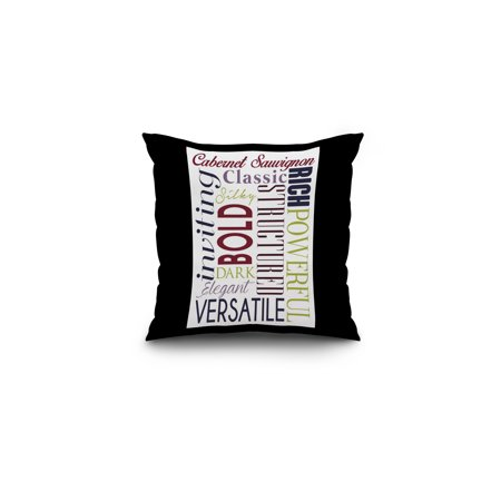 Cabernet Sauvignon Typography - White Background - Lantern Press Artwork (16x16 Spun Polyester Pillow, Black