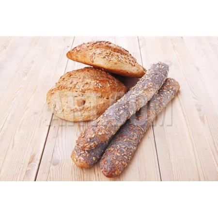 Delicacy French Rye Breads and Baguettes Topped with Sunflower and Poppy Seeds over Wooden Table Print Wall Art By (Rye Bread Caraway Seeds)