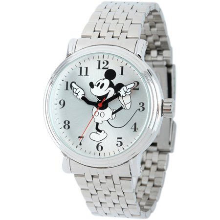 Mickey Mouse Men's Shinny Silver Vintage Articulating Alloy Case Watch, Silver Bracelet