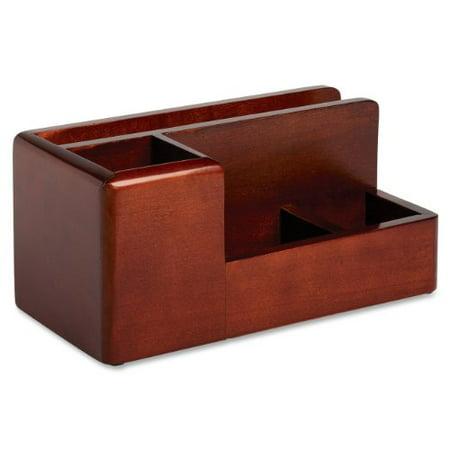 Rolodex Wood Tones Desktop Organizer - 4 Compartment[s] - Wood - Mahogany (ROL1734648)