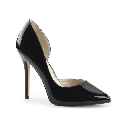 Womens Black Patent Pumps D'Orsay 5 Inch High Heels Pointed Toe Shiny Shoes](6 Inch Black Pumps)