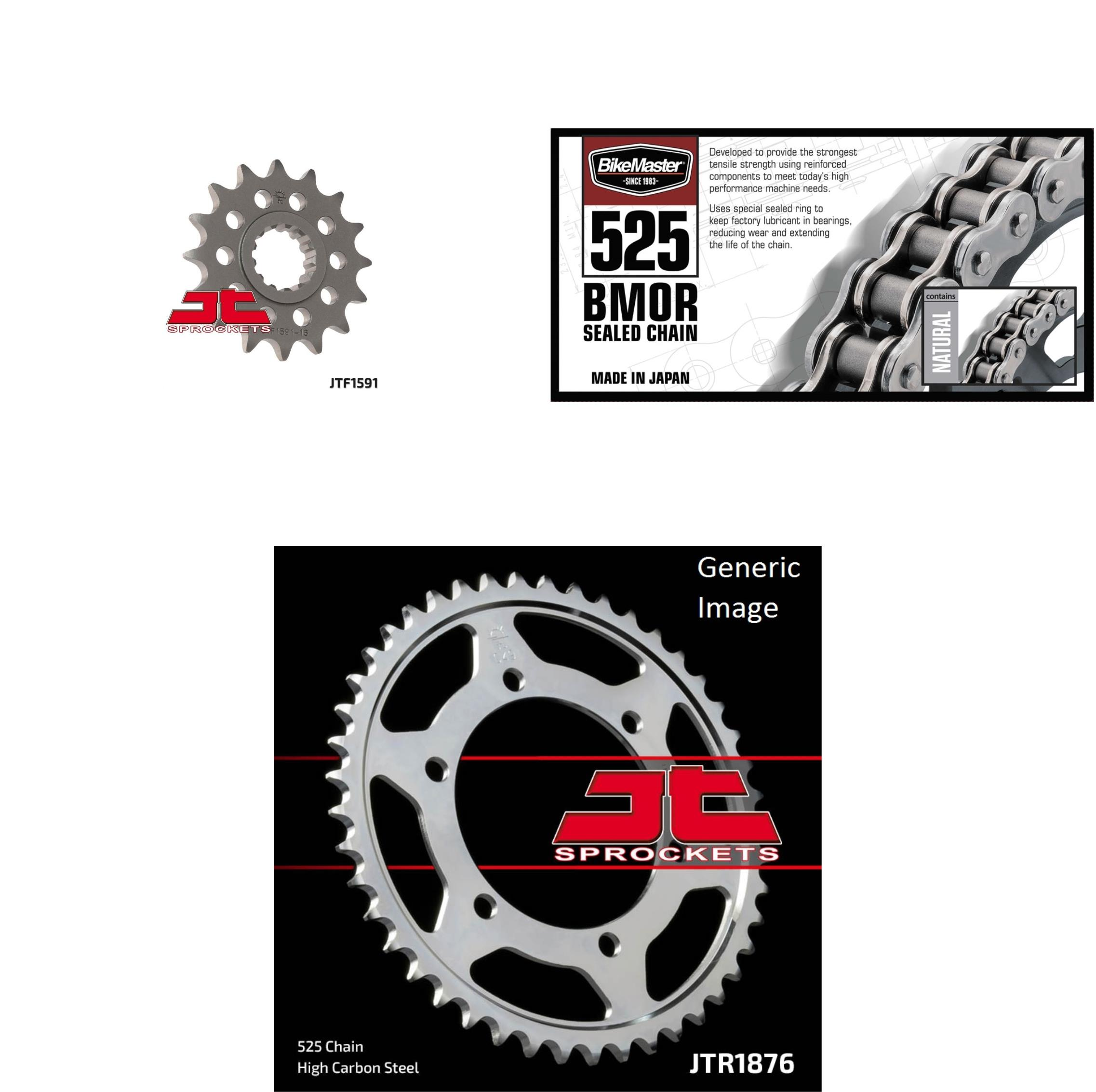 BIKEMASTER 525 BMOR Sealed Chain Natural, JT Front & Rear Sprocket Kit for Street YAMAHA FJ-09 2016
