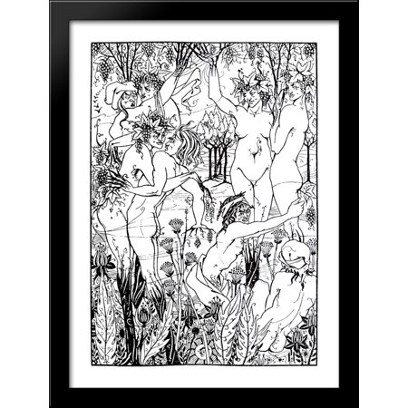 A Snare of Vintage 28x38 Large Black Wood Framed Print Art by Aubrey Beardsley