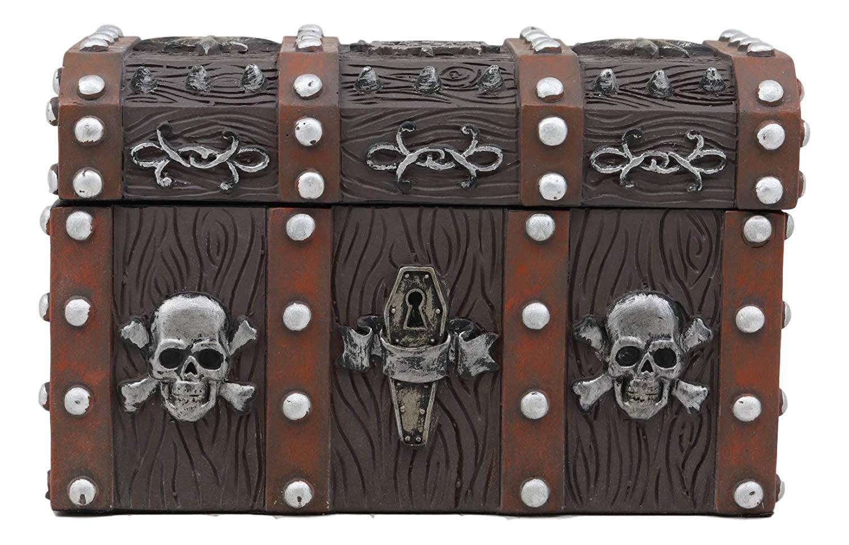 Ebros Gift Haunted Caribbean Pirate Skull With Crossbones Small Treasure Chest Box Jewelry Box Figurine 6 Inches Long Nautical Coastal Ocean Spooky Halloween Macabre Themed Decor Walmart Com Walmart Com