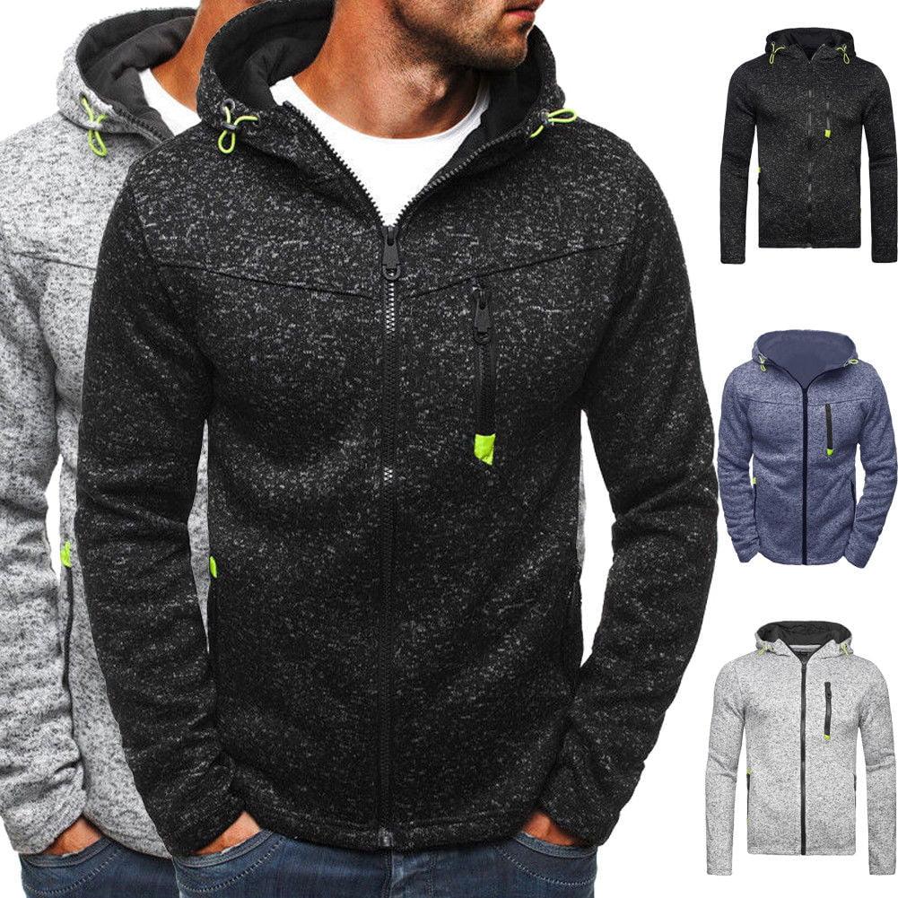 Mens Hoodie Sweatshirt Sports Jacket Hooded Zip Up Pullover Jumper Coat Outwear