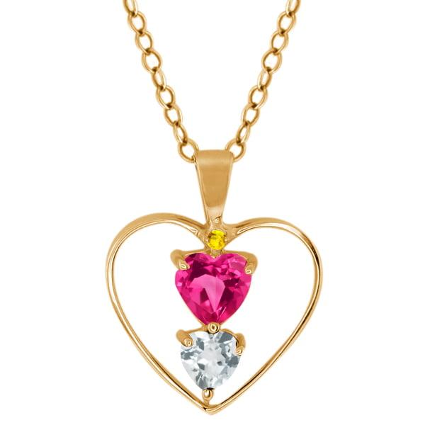 0.69 Ct Pink Mystic Topaz Sky Blue Aquamarine 18K Yellow Gold Pendant by