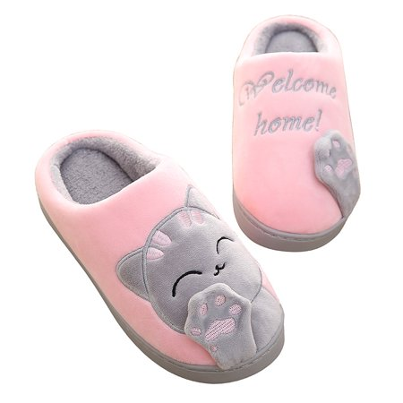 Women Winter Warm Home Slippers Cartoon Lucky cat Non-slip Home Shoes Men Indoor Floor Bedroom Lovers Couple Plush House Shoes,L
