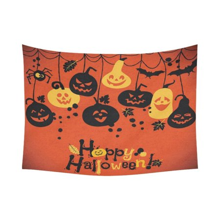 GCKG Cheerful Pumpkins Jack O Lantern Happy Halloween Tapestry Wall Hanging Orange Doodle Wall Decor Art for Living Room Bedroom Dorm Cotton Linen Decoration 80 x 60 - Halloween Doodle Art