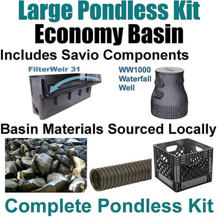 "15 x 25 Large Pondless Waterfall Kit With Anjon 6,100 GPH Hybrid Mag Drive Pump, Savio 31"" Waterfall & Savio Waterfall Well PLS2"