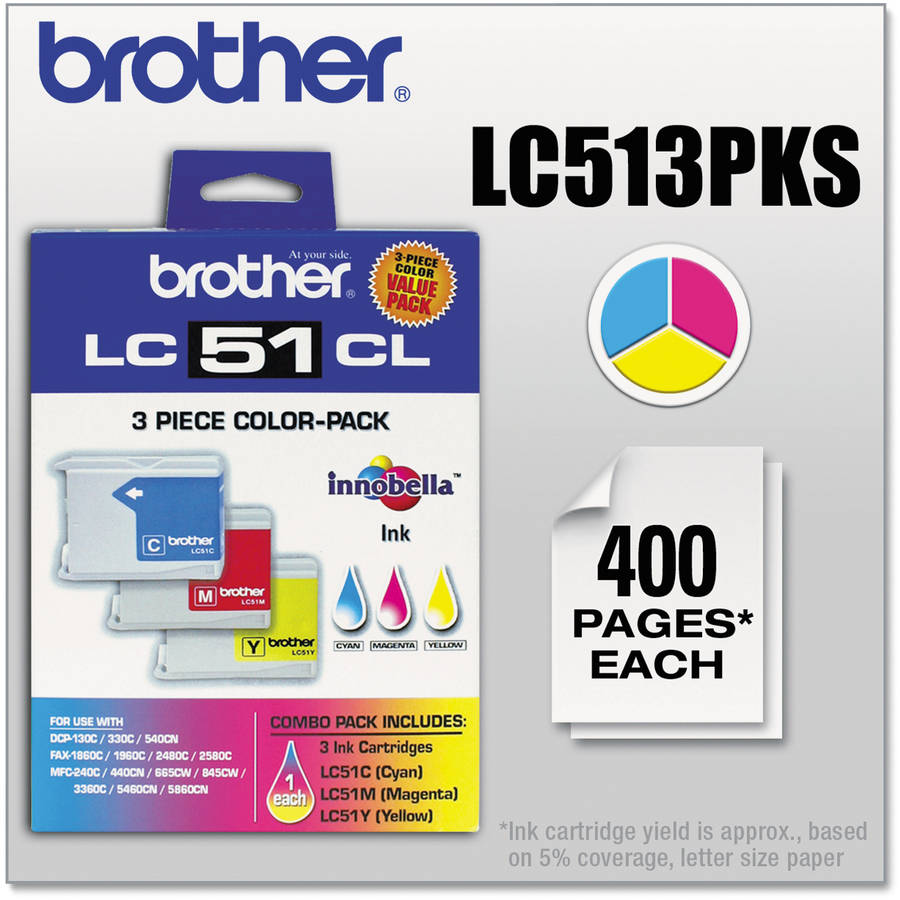 Brother Tri-Color Inkjet Print Cartridge, 3pk (LC513PKS)
