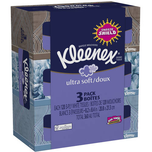 Kleenex Ultra Soft Facial Tissue, 120 count, (Pack of 3)