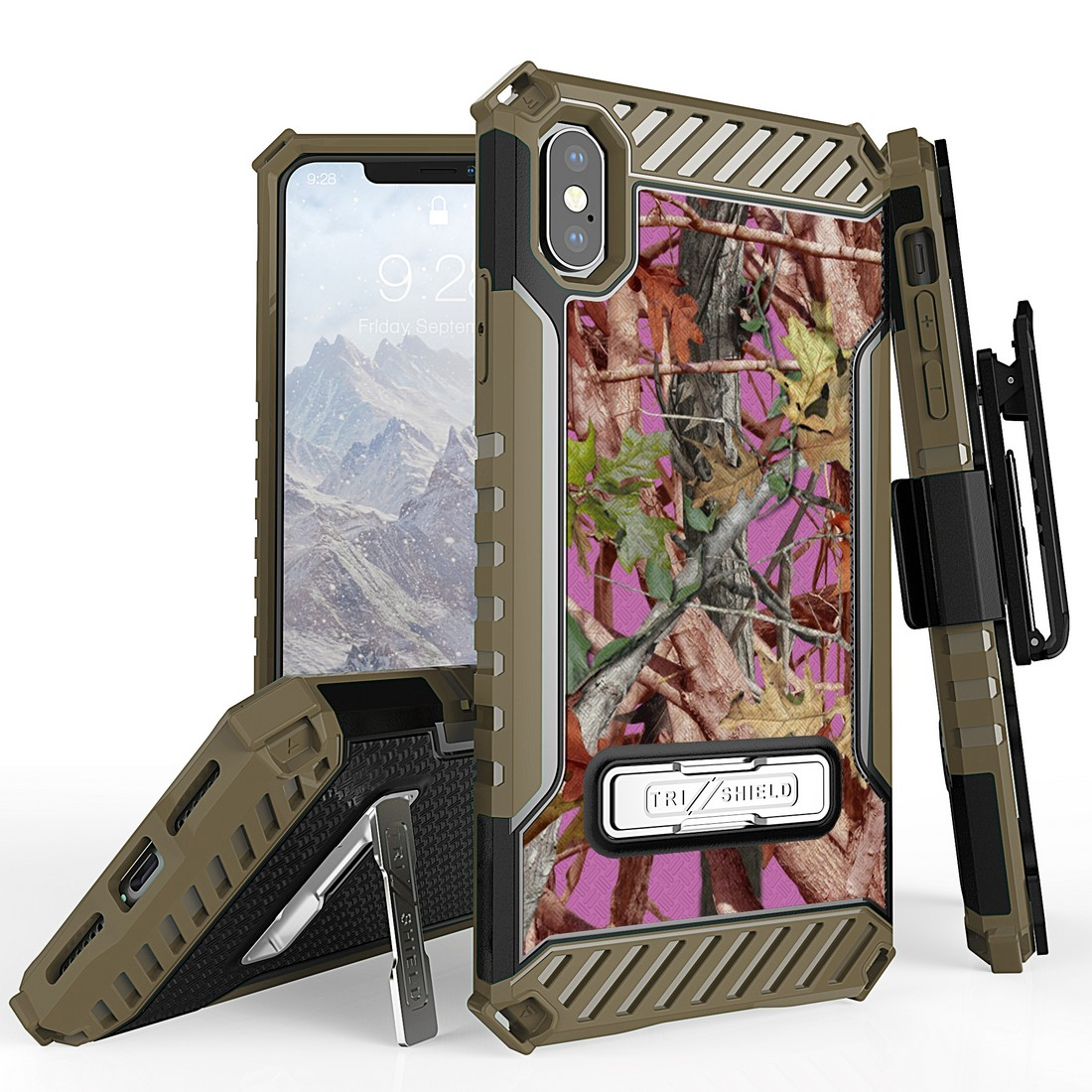 Beyond Cell Tri Shield Military Grade Shock Proof [MIL-STD 810G-516.6] Kickstand Case Cover with 360 Degree Rotating Swivel Belt Clip Holster for iPhone Xs Max - Pink Camo