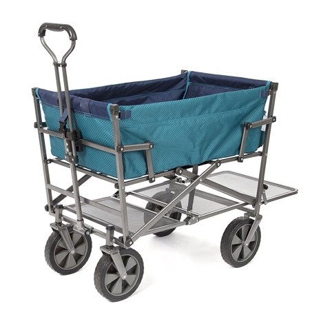 Mac Sports Heavy Duty Double Decker Collapsible Yard Cart Garden Wagon, Teal