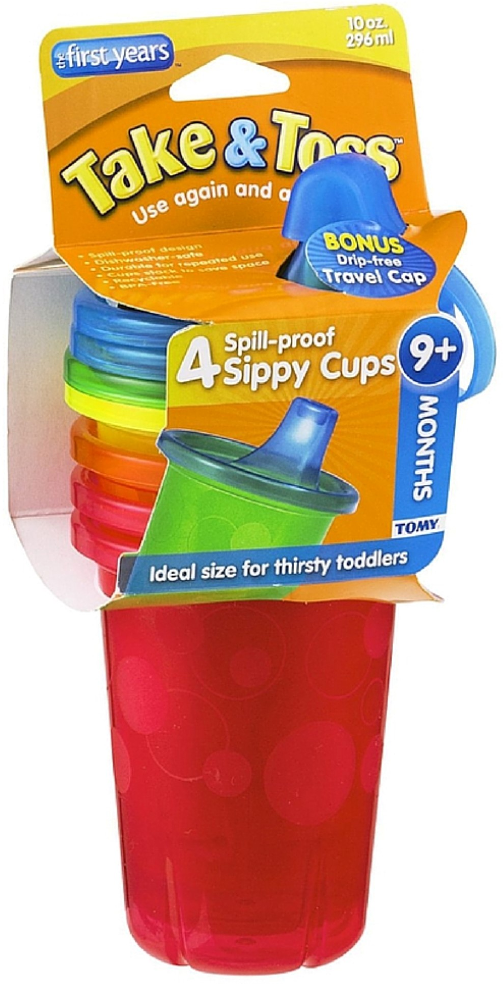 3 Pack The First Years Take & Toss Spill-Proof Cups 10-Ounce, Assorted Colors 4 ea by The First Years